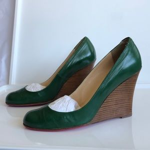 90's Vintage Louboutin Emerald Green Wedge Pumps